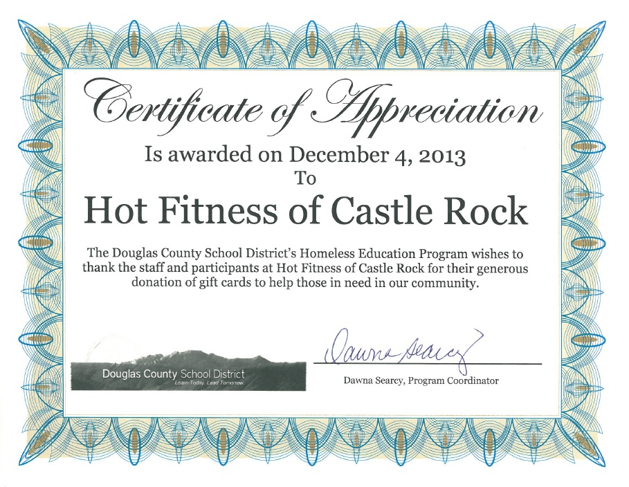 505 raised for dcsd homeless hot fitness inc certificate of appreciation yadclub Choice Image